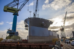 "Construction of the USNS Hershel ""Woody"" Williams, an expeditionary sea base for the U.S. Navy, takes place in General Dynamics NASSCO's San Diego shipyard."