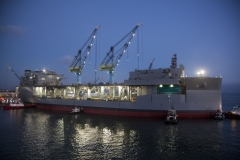 "General Dynamics NASSCO successfully completes a float out of the USNS Hershel ""Woody"" Williams, an expeditionary sea base for the U.S. Navy."