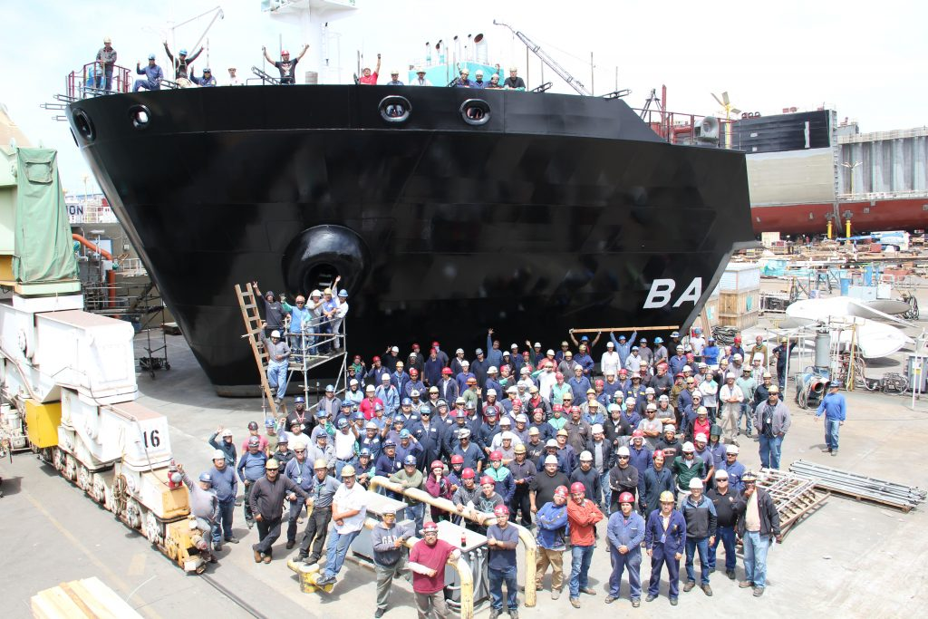May 2016 - Shipbuilders at General Dynamics NASSCO prepare to lift the remaining block for the Bay State.