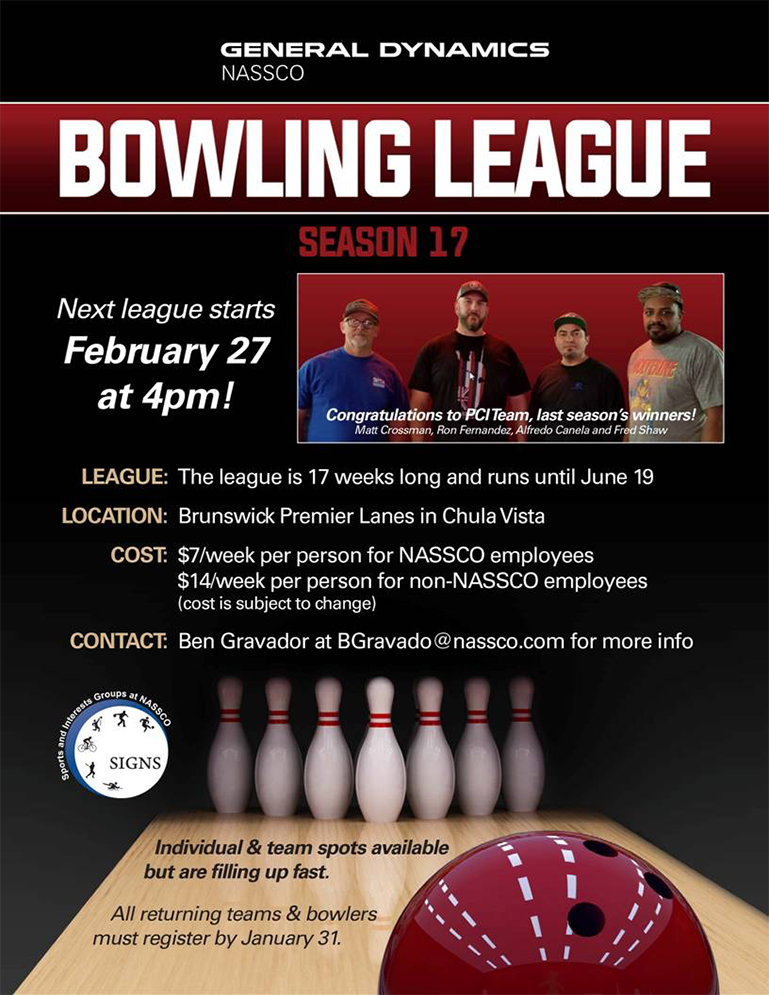 NASSCO Bowling League - Season 17 @ Brunswick Premier Lanes in Chula Vista | Chula Vista | California | United States